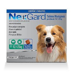 Antipulgas e Carrapatos NexGard para Cães de 10,1 A 25kg 3 comprimidos