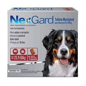 Antipulgas e Carrapatos NexGard para Cães de 25,1 A 50kg 1 comprimido