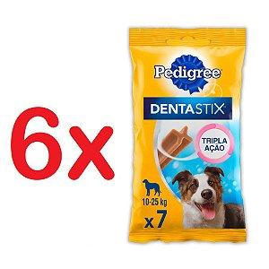 Petisco Pedigree Dentastix Cuidado Oral Para Cães Adultos Raças Médias Kit com 6 Unidades