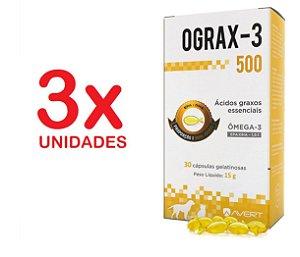 Ograx 500mg Omega-3 Avert 30 Capsulas Cães E Gatos Kit Com 3 Unidades