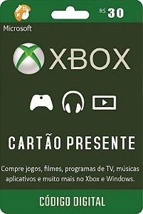 Cartão Presente Pré Pago Xbox Live R$ 30 Reais
