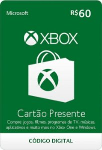 Cartão Presente Pré Pago Xbox Live R$ 60 Reais