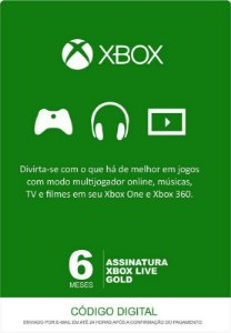 Xbox Live Gold - Assinatura 6 Meses
