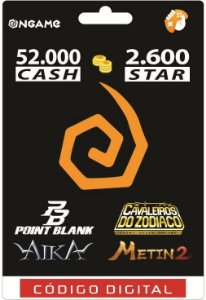 OnGame: 52.000 Cash / 2.600 Star: Point Blank, AIKA, Metin 2 e CDZ