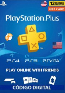 Cartão Playstation Plus 12 Meses (1 Ano) PSN USA