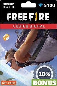 Free Fire: 5.100 Diamantes + Bônus [Recarga]