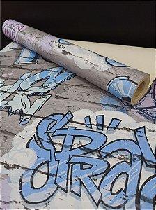 Papel de Parede Tijolinho Cinza no Grafite 10 Metros