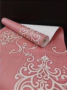 Papel de Parede Arabesco Rosa e Branco