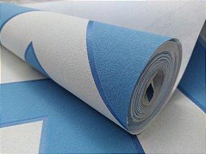 Papel de Parede Chevron Azul/Branco 10 Metros