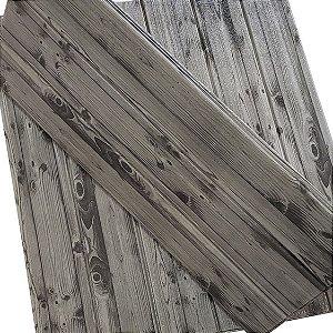 Placa Adesiva 3D - Madeira Cinza -  70cm x 60cm