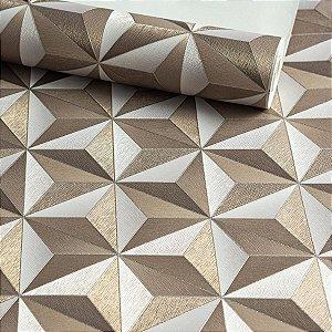 Papel de Parede Geométrico Bege com Detalhes Dourados, Vinilico.