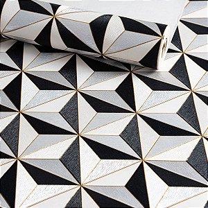 Papel de Parede Vinilico - Geométrico - Cinza, Preto e Detalhe Dourado