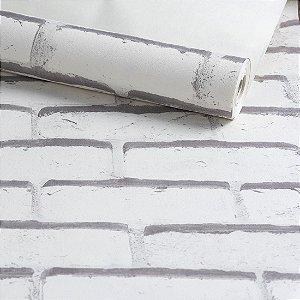 Papel de Parede Vinilico - Tijolos - Branco com Cinza