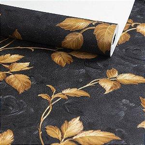 Papel de Parede Vinilico - Floral - Dourado e Preto