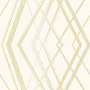 Papel de Parede Vinílico - EPP III - Geométrico - marfim e dourado