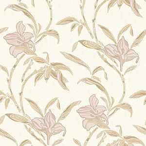 Papel de Parede Vinílico - EPP III - Floral - marfim e bege
