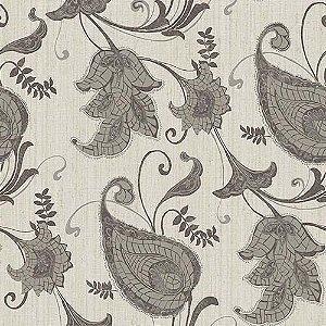 Papel de Parede Vinílico - EPP III - Floral - cinza e prata