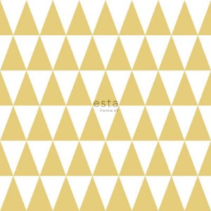 Papel de Parede Vinicilo - geométrico - Branco e Amarelo