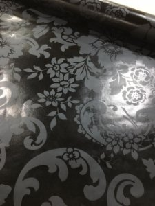 Papel de Parede Vinílico Floral Preto