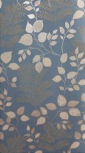 Papel de Parede Floral Azul Marítimo 10 Metros