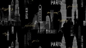 Papel de Parede Dream Word Abu Dhabi Preto - 1,06m X 15m