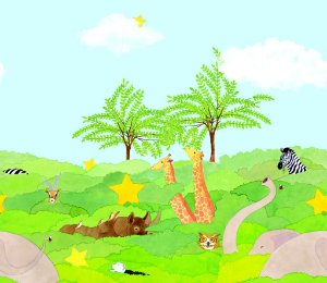 Faixa Papel de Parede Dream Word A113-1 infantil (animais) 0,53m x 10m