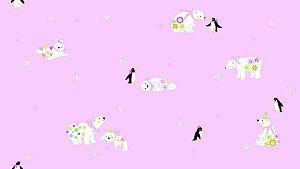 Papel de Parede Dream Word A5088-2 urso polar e pinguim com fundo rosa 1,06 x 15 rendimento de 12 metros