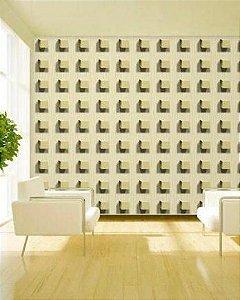 Papel de Parede 3D Cubos Bege 10 Metros