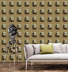 Papel de Parede 3D Cubos marrom, emborrachado, texturizado e lavável.