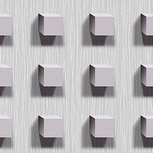 Papel de Parede 3D Cubos cinza e lilás claro, emborrachado, texturizado e lavável.