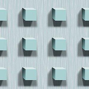 Papel de Parede 3D azul tiffany claro, emborrachado, texturizado e lavável.