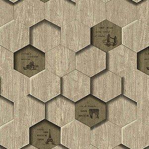 Papel de Parede 3D hexagono bege, emborrachado, texturizado e lavável.