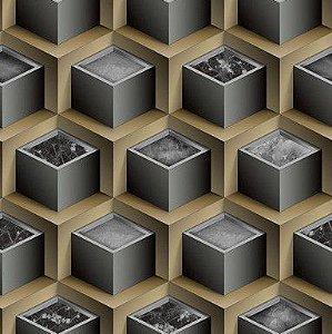 Papel de Parede 3D cinza e bege, emborrachado, texturizado e lavável.