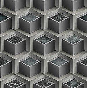 Papel de Parede 3D cinza, emborrachado, texturizado e lavável.