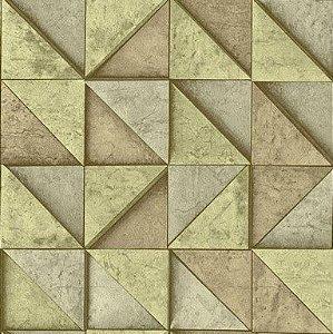 Papel de Parede 3D geométrico bege, emborrachado, texturizado e lavável.