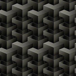 Papel de Parede 3D geométrico preto e cinza, emborrachado, texturizado e lavável.