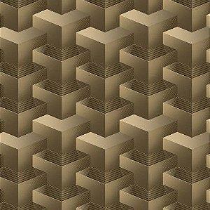 Papel de Parede 3D geométrico marrom, emborrachado, texturizado e lavável.