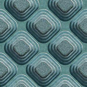 Papel de Parede 3D geométrico verde, emborrachado, texturizado e lavável.