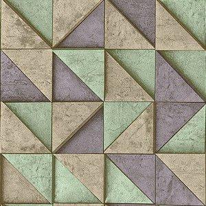Papel de Parede 3D geométrico bege, verde e lilás, emborrachado, texturizado e lavável.