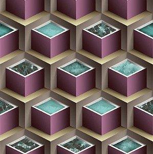 Papel de Parede 3D Geométrico Lilás e Bege 10 Metros