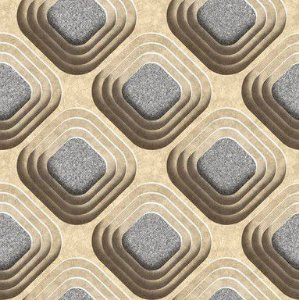 Papel de Parede 3D Geométrico Bege e Cinza - 0,53cm x 10,00m