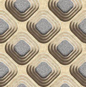 Papel de Parede 3D geométrico bege e cinza, emborrachado, texturizado e lavável.