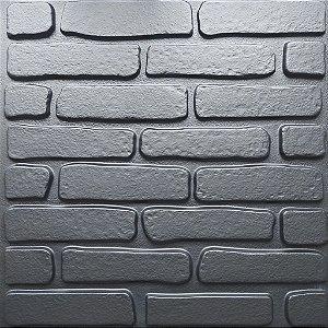 Placa 3D Adesiva 50X50 Preta Tijolinho