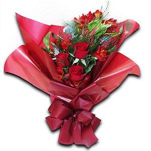 Buquê Rosas 08 Flores com Astromélia Chic