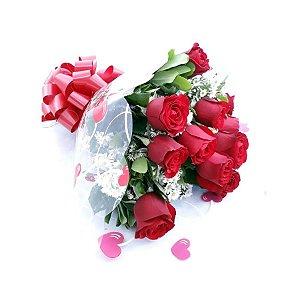 Buque de Rosas com 12 rosas Eu te Amo