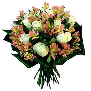 Buquê de 12 Rosas Brancas e Alstroemeria Lindo