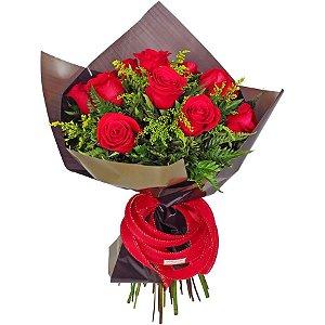 Buquê de Rosas Vermelhas 12 Botões Paixão