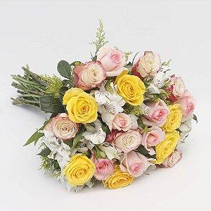 Buquê Grande com 20  Rosas Coloridas e Alstroemeria