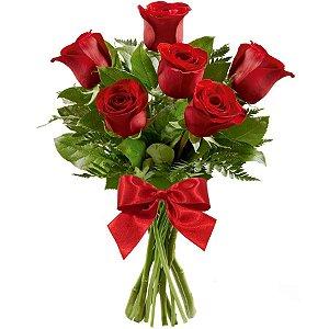 Ramalhete com 06 Rosas Vermelhas e Laço