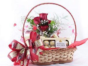 Cesta de Rosas com Chocolate Ferrero